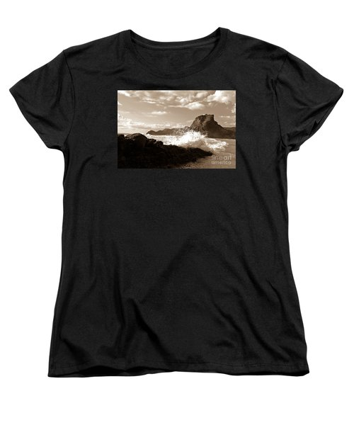 Women's T-Shirt (Standard Cut) featuring the photograph Lion Rock On Piha Beach, New Zealand by Yurix Sardinelly