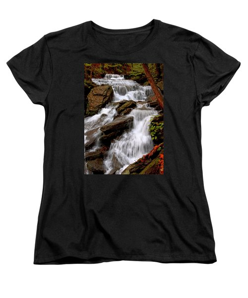 Women's T-Shirt (Standard Cut) featuring the photograph Little Four Mile Run Falls by Suzanne Stout
