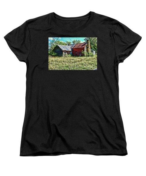 Women's T-Shirt (Standard Cut) featuring the photograph Little Red Farmhouse by Paul Ward