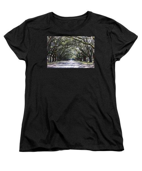 Live Oak Lane In Savannah Women's T-Shirt (Standard Cut)