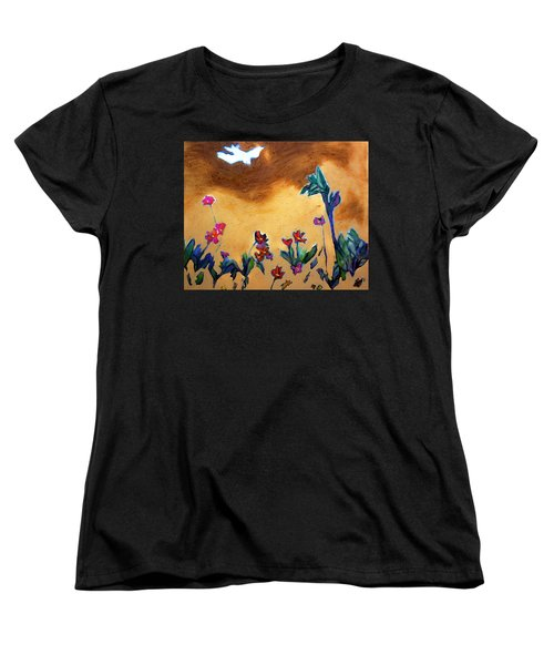 Women's T-Shirt (Standard Cut) featuring the painting Living Earth by Winsome Gunning