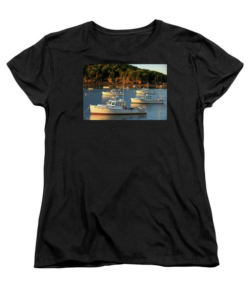 Women's T-Shirt (Standard Cut) featuring the photograph Lobster Boats At Bar Harbor Me  by Emmanuel Panagiotakis