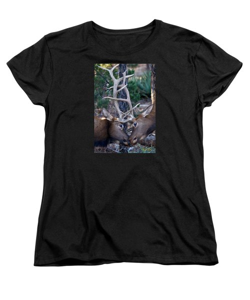 Locking Horns - Well Antlers Women's T-Shirt (Standard Cut) by Rikk Flohr