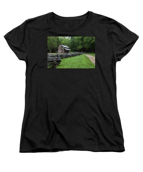 Log Cabin Women's T-Shirt (Standard Cut) by David Cote