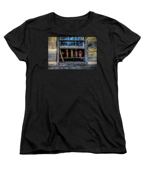 Women's T-Shirt (Standard Cut) featuring the photograph Log Cabin Window by Paul Freidlund