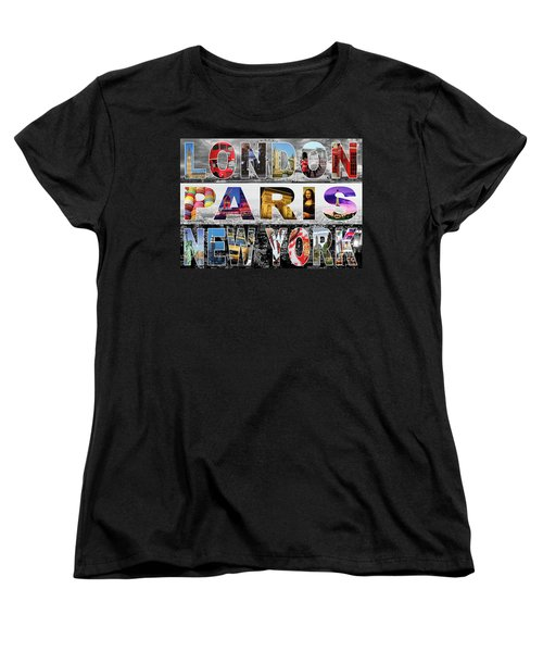 Women's T-Shirt (Standard Cut) featuring the digital art London Paris New York by Adam Spencer