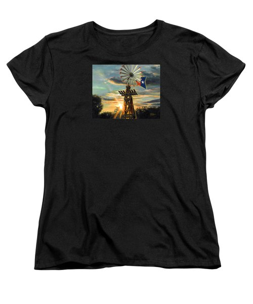 Women's T-Shirt (Standard Cut) featuring the painting Lone Star Sky by Doug Kreuger