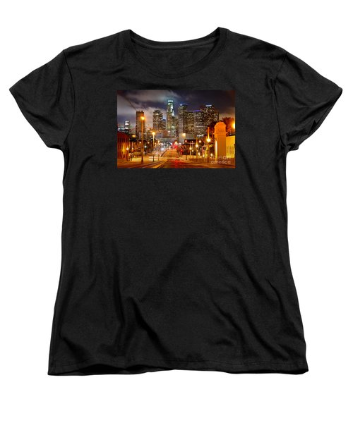 Los Angeles Skyline Night From The East Women's T-Shirt (Standard Cut) by Jon Holiday