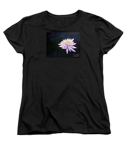 Women's T-Shirt (Standard Cut) featuring the painting Lotus Blossom At Night by Patricia Griffin Brett