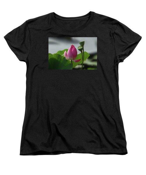 Lotus Flower In Pure Magenta Women's T-Shirt (Standard Cut) by Yvonne Wright