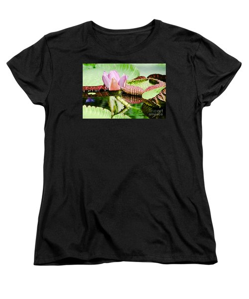 Women's T-Shirt (Standard Cut) featuring the painting Lotus Flower In Water by Yurix Sardinelly