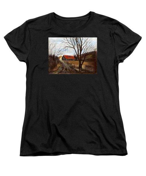 Women's T-Shirt (Standard Cut) featuring the painting Louisa Kentucky Barn by Gail Kirtz