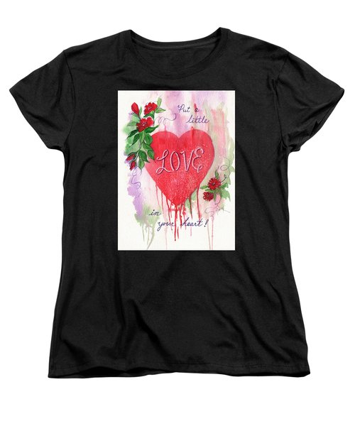 Women's T-Shirt (Standard Cut) featuring the painting Love In Your Heart by Marilyn Smith