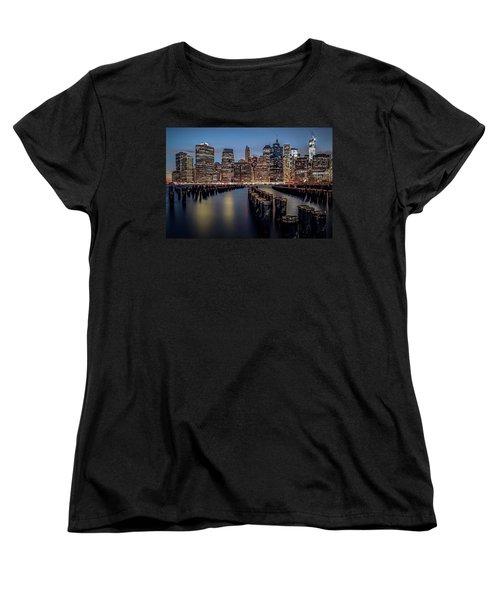 Lower Manhattan Skyline Women's T-Shirt (Standard Cut) by Eduard Moldoveanu