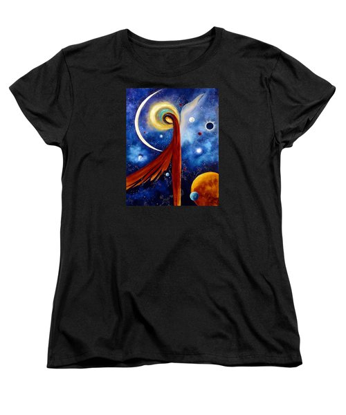Women's T-Shirt (Standard Cut) featuring the painting Lunar Angel by Marina Petro