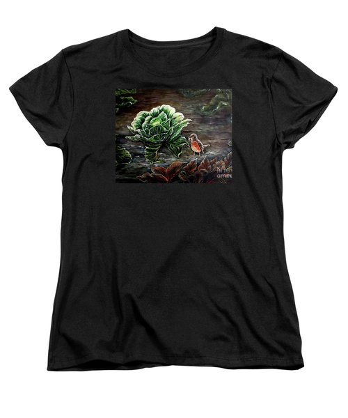 Women's T-Shirt (Standard Cut) featuring the painting Lunch In The Garden by Judy Kirouac