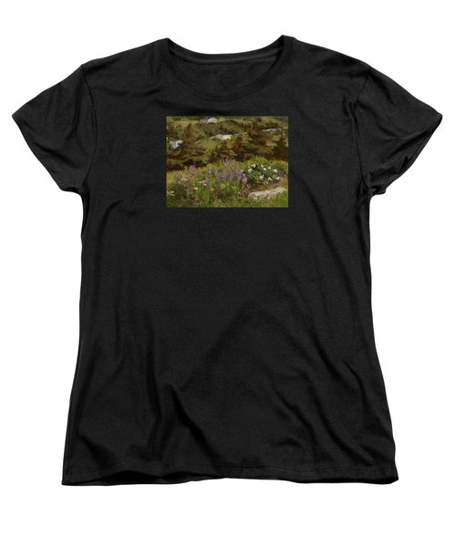 Lupine And Wild Roses Women's T-Shirt (Standard Cut) by Jane Thorpe
