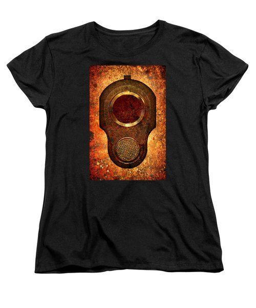 M1911 Muzzle On Rusted Background Women's T-Shirt (Standard Cut) by M L C
