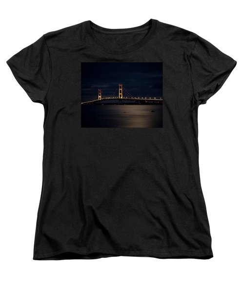 Mackinac Bridge At Night Women's T-Shirt (Standard Cut) by Larry Carr