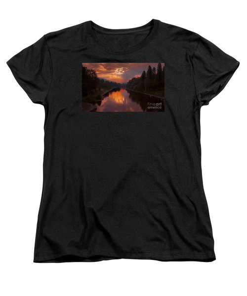 Magnificent Clouds Over Rogue River Oregon At Sunset  Women's T-Shirt (Standard Cut) by Jerry Cowart