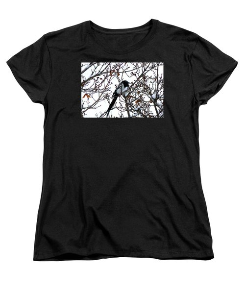 Women's T-Shirt (Standard Cut) featuring the photograph Magpie In A Snowstorm by Will Borden