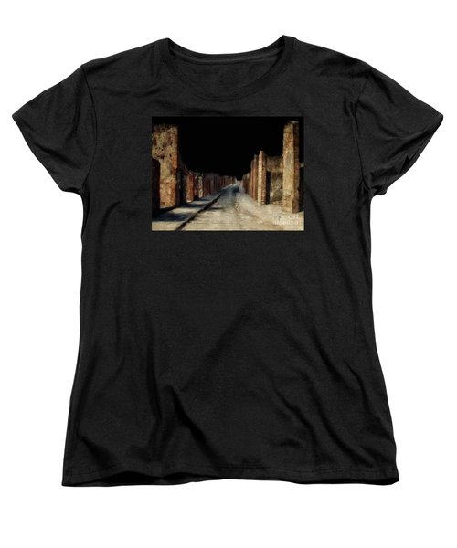 Main Street, Pompeii Women's T-Shirt (Standard Cut) by Lois Bryan