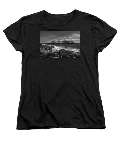Maine Cape Neddick Lighthouse In Bw Women's T-Shirt (Standard Cut) by Ranjay Mitra