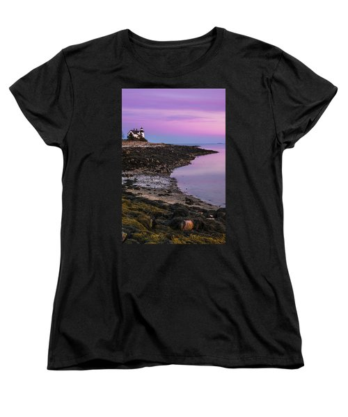 Women's T-Shirt (Standard Cut) featuring the photograph Maine Prospect Harbor Lighthouse Sunset In Winter by Ranjay Mitra