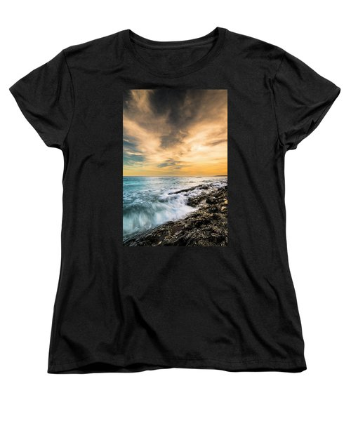 Women's T-Shirt (Standard Cut) featuring the photograph Maine Rocky Coastal Sunset by Ranjay Mitra