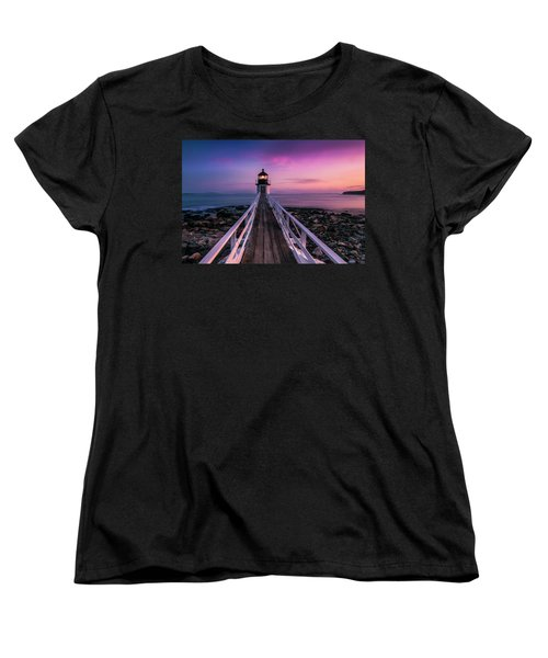 Maine Sunset At Marshall Point Lighthouse Women's T-Shirt (Standard Cut) by Ranjay Mitra