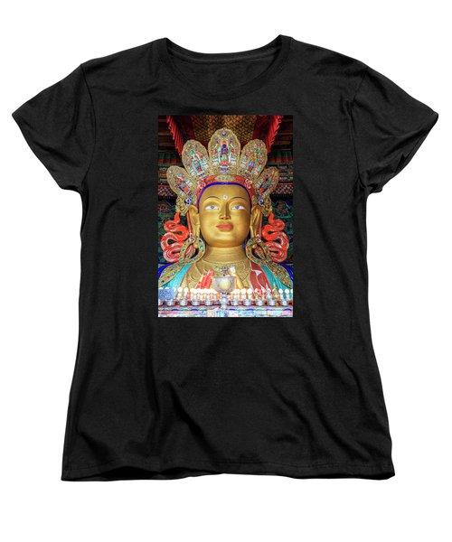 Women's T-Shirt (Standard Cut) featuring the photograph Maitreya Buddha Statue by Alexey Stiop