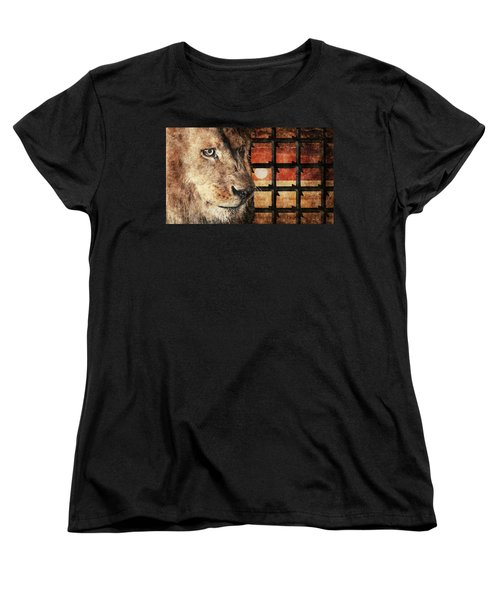 Majestic Lion In Captivity Women's T-Shirt (Standard Cut) by Anton Kalinichev