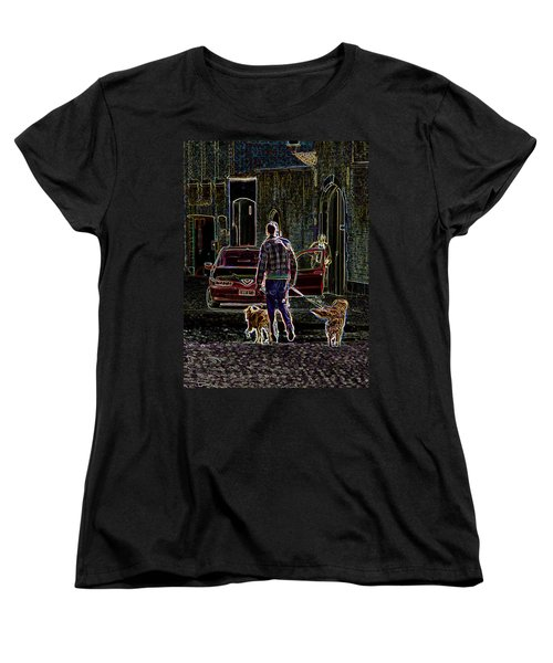 Women's T-Shirt (Standard Cut) featuring the photograph Man And Best Friends by Rhonda McDougall