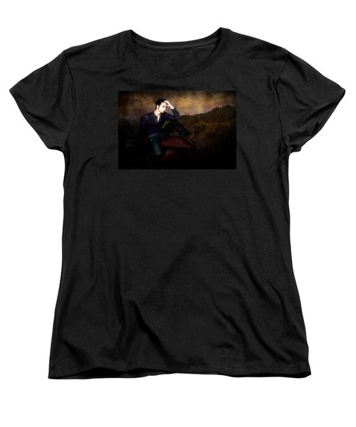 Man On A Bench Women's T-Shirt (Standard Cut) by Jeff Burgess