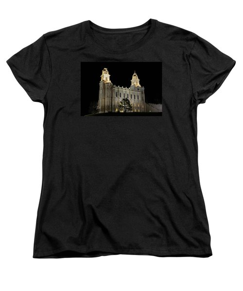 Manti Temple Night Women's T-Shirt (Standard Cut) by David Andersen
