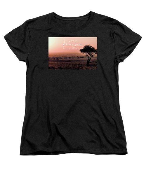 Women's T-Shirt (Standard Cut) featuring the photograph Mara Pink Dawn  by Karen Lewis