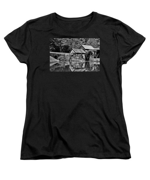 Women's T-Shirt (Standard Cut) featuring the photograph Marby Mill In Black And White by Paul Ward