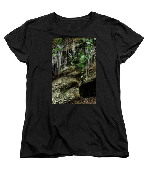 Women's T-Shirt (Standard Cut) featuring the photograph March Icicles 2 by Mike Eingle