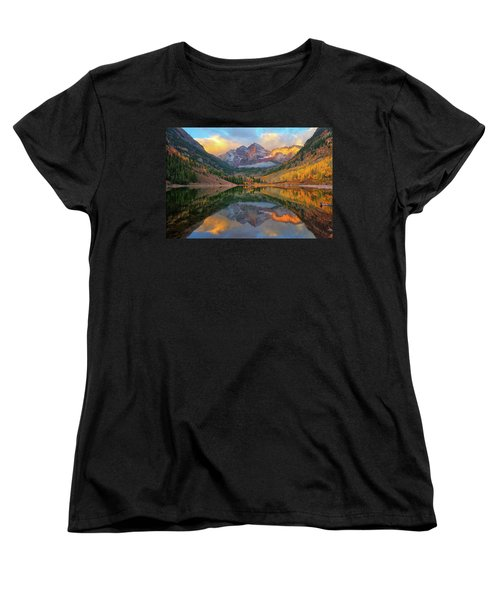 Maroon Bells Autumn Reflections Women's T-Shirt (Standard Cut) by Greg Norrell