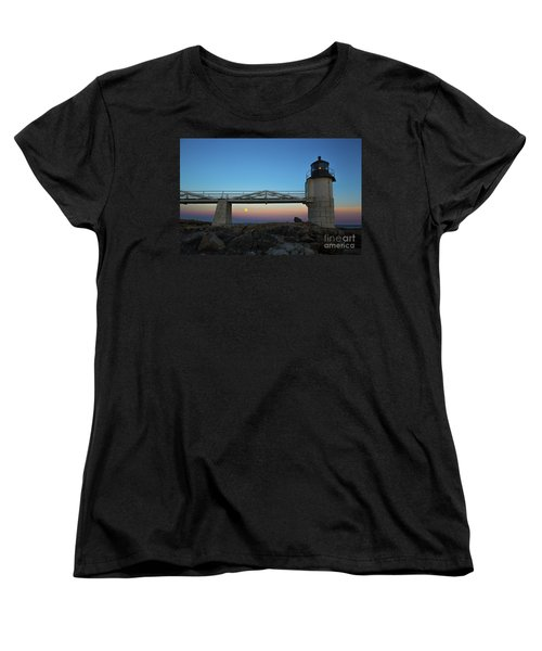 Marshall Point Lighthouse With Full Moon Women's T-Shirt (Standard Cut) by Diane Diederich