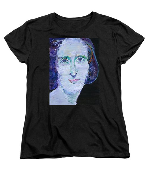 Women's T-Shirt (Standard Cut) featuring the painting Mary Shelley - Oil Portrait by Fabrizio Cassetta