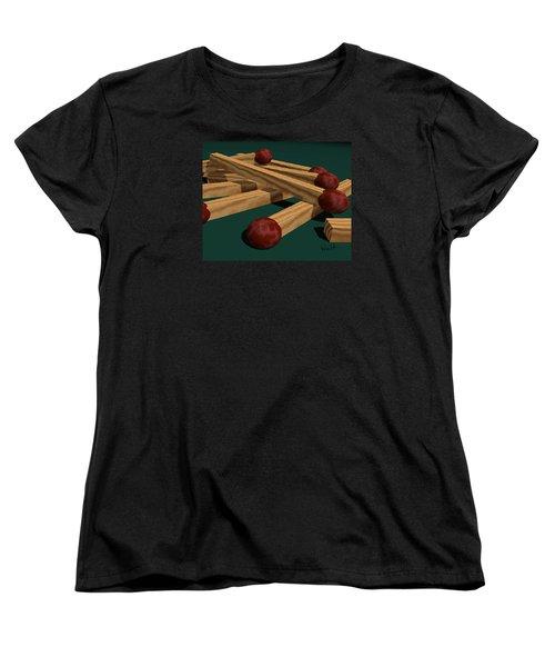 Women's T-Shirt (Standard Cut) featuring the digital art Matches by Walter Chamberlain