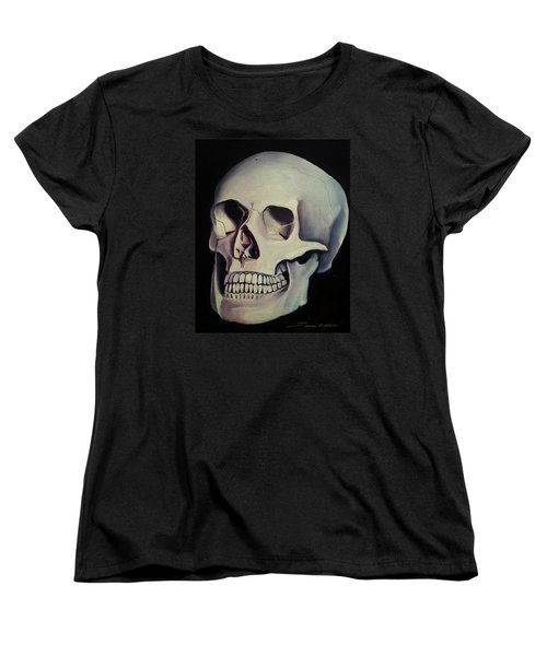Women's T-Shirt (Standard Cut) featuring the painting Medical Skull  by James Christopher Hill
