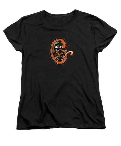 Women's T-Shirt (Standard Cut) featuring the digital art Medieval Squirrel Letter C Blue by Donna Huntriss