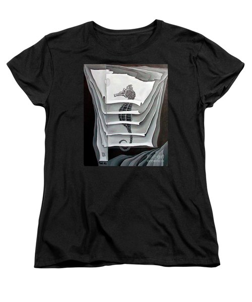 Women's T-Shirt (Standard Cut) featuring the painting Memory Layers by Fei A
