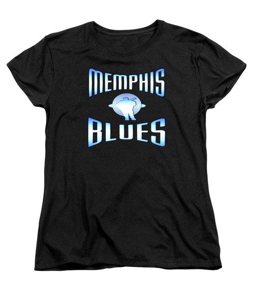 Memphis Blues Tshirt Design Women's T-Shirt (Standard Cut) by Art America Gallery Peter Potter