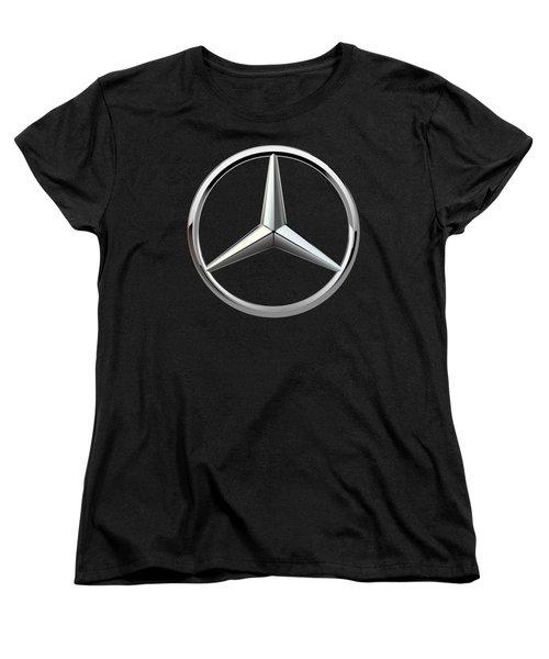 Mercedes-benz - 3d Badge On Black Women's T-Shirt (Standard Cut) by Serge Averbukh