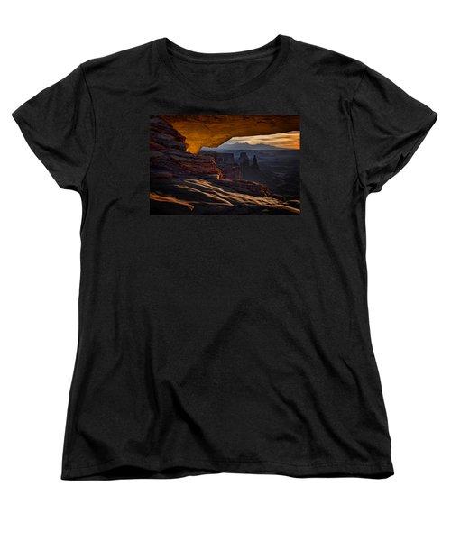 Women's T-Shirt (Standard Cut) featuring the photograph Mesa Arch Glow by Jaki Miller