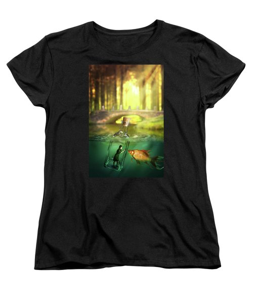 Women's T-Shirt (Standard Cut) featuring the digital art Message In A Bottle by Nathan Wright