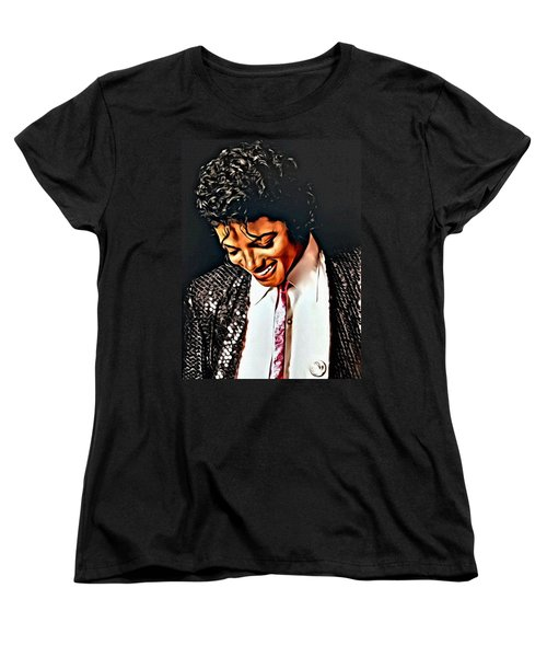 Women's T-Shirt (Standard Cut) featuring the painting Michael Jackson The Ultimate Humanitarian by Karen Showell